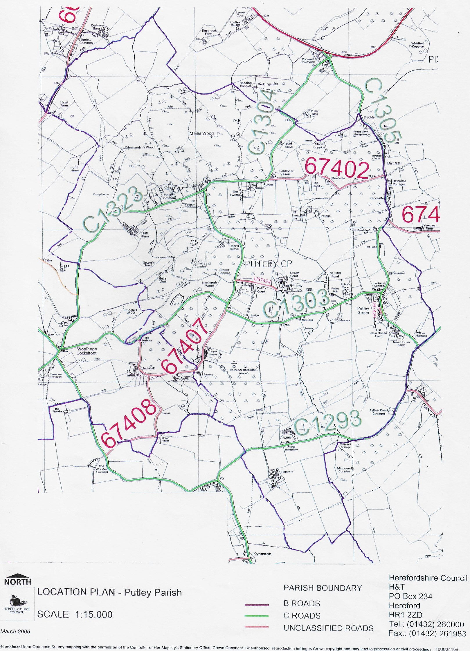 Putley Parish Location Plan